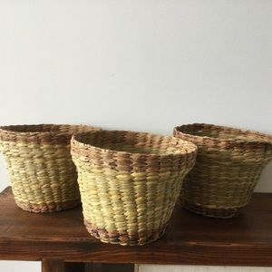 Set of 3 Vintage Woven Seagrass Baskets